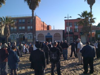 View of the Blessing of the Sun with the Shul in the background